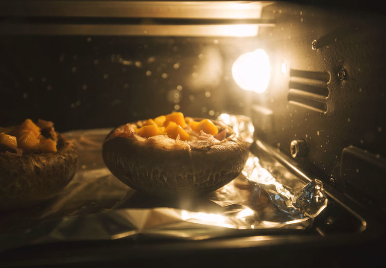 Close-up of dessert in microwave