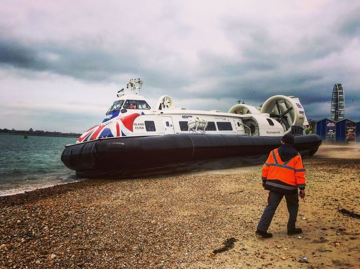 Travel Hover Beach Southsea Hover Travel Hovercraft Nature Nautical Vessel Sea Day Rear View Land One Person Outdoors Flag Go Higher It's About The Journey