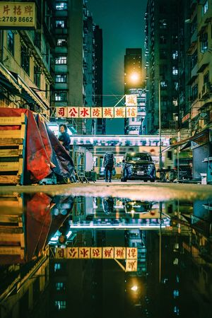 Life Discoverhongkong Street Photography Reframinghk October Reflection Architecture Building Exterior City Built Structure Illuminated Transportation Street Night Text Mode Of Transportation City Street City Life Building Sign Motor Vehicle Office Building Exterior Land Vehicle Road Communication Car