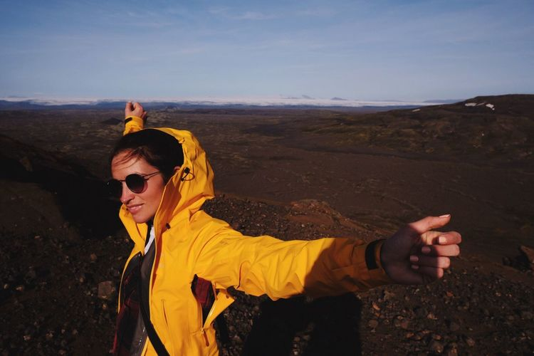 Paint The Town Yellow EyeEm Selects Sunglasses Real People One Person Outdoors Leisure Activity Sky Lifestyles Adventure Selfie Standing Nature Landscape Day Young Adult Mountain Young Women Yellow Women Photography Themes Vacations