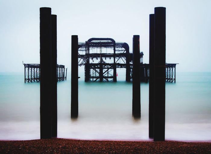 Remnants City England Brighton Beach Morning Early Morning Sea Water Symmetry Business Finance And Industry Steel Silhouette Politics And Government Protection Sky Architecture Pier