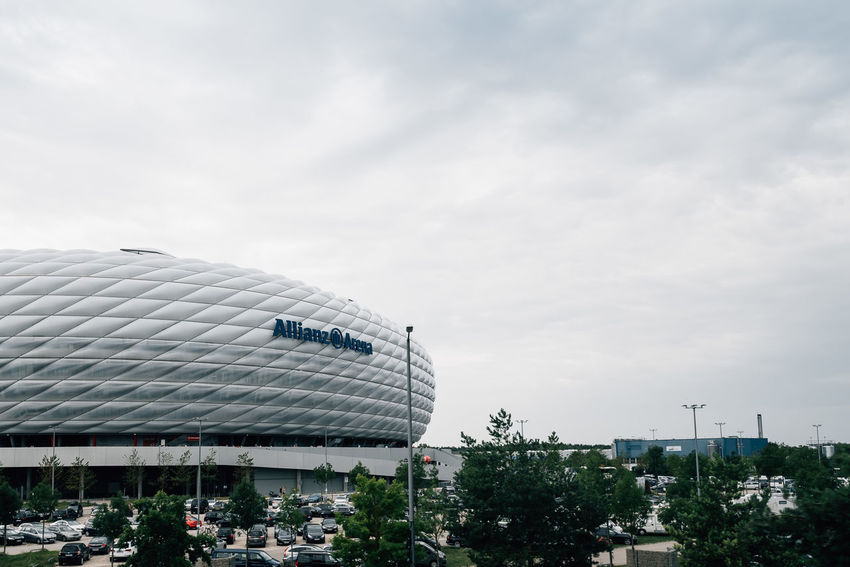 Exterior view of Allianz Arena the stadium of Bayern of Munich Architecture Arena Bayern München LED Munich Stadium Allianz Architecture Bayern Building Exterior Built Structure City Cloud - Sky Day Germany Greenhouse Led Lights  Nature No People Outdoors Outdoors Photograpghy  Sky Soccer Tree