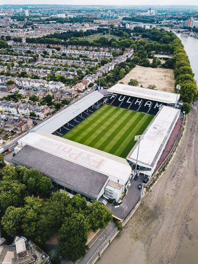 High angle view of soccer field in city