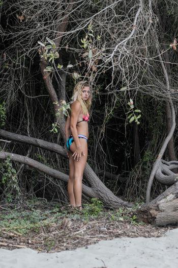 Beautiful Tanya Female Model Beach Bikini Female Model Modeling San Diego California Encinitas Swimwear Moonlight Beach Swimwearshoot Trees