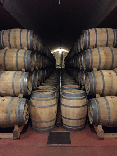 Wine casks at warehouse