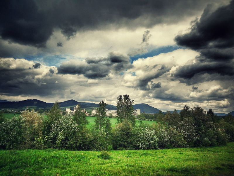 Industrial Landscapes Landscape Dramatic Sky Greenfields Factory Windy Day Mountains Landscape Layers The Great Outdoors - 2016 EyeEm Awards