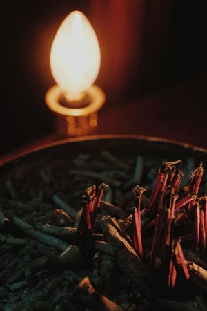 No People Heat - Temperature Night Indoors  Close-up Incense Stick Abstract Trust Incense Pot Religion Culture Traditional Red Dark Believe Buddhism Activity Shot Peaceful Light Lamp Illuminated Pray Mind  Chinese