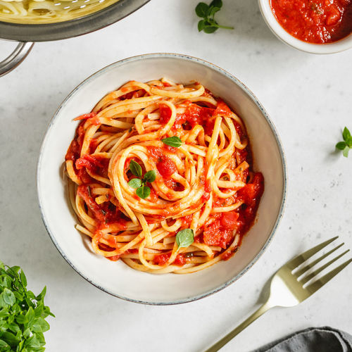 Food And Drink Food Italian Food Freshness Pasta Ready-to-eat Herb Kitchen Utensil Spaghetti Table Indoors  Eating Utensil Bowl High Angle View Directly Above Vegetable Still Life Healthy Eating Plate Sauce Tomato Sauce No People Garnish Savory Sauce Crockery