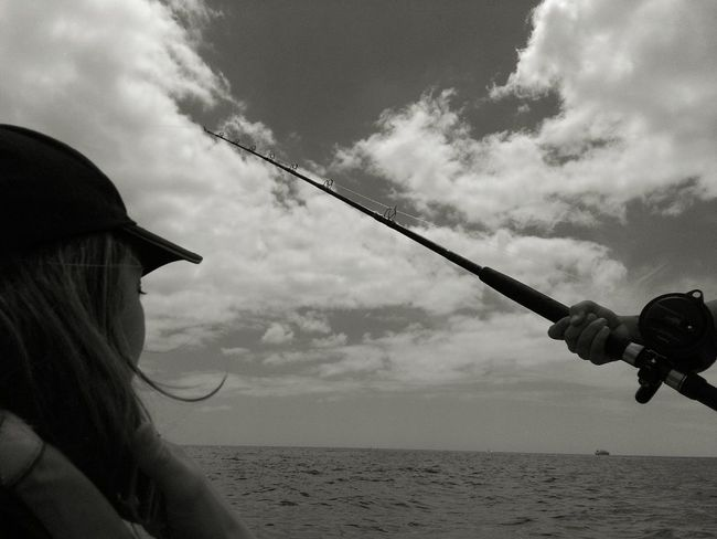 Sky Cloud - Sky Day Sea Outdoors People Water Nature Monochrome Monochrome Photography Fishing Fishing Rod Melancholy Women Around The World