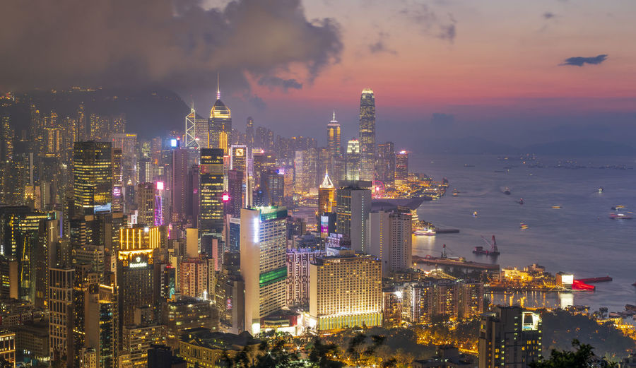 Cityscape from braemar hill at night, hong kong