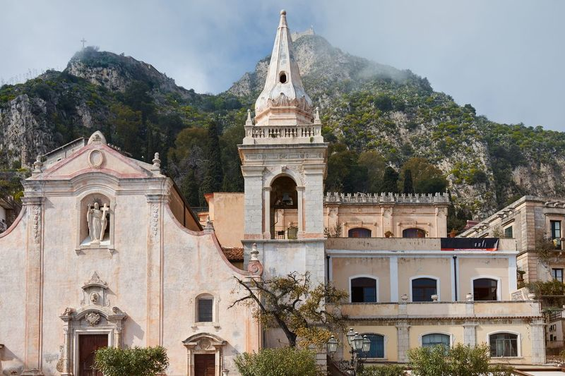 San Giuseppe Church, Taormina, Sicily Taormina Sicily Italy Mountain Mist Church Place Of Worship Catholic Church Religious Architecture Architecture Façade Spire  Bell Tower No People Religion Spirituality Building Exterior Built Structure Historic Historical Building