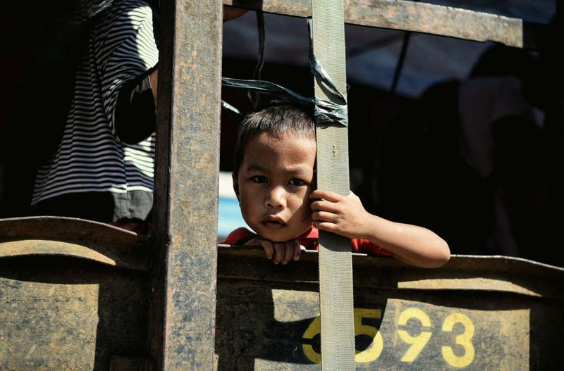 Portrait of boy looking through metallic fence