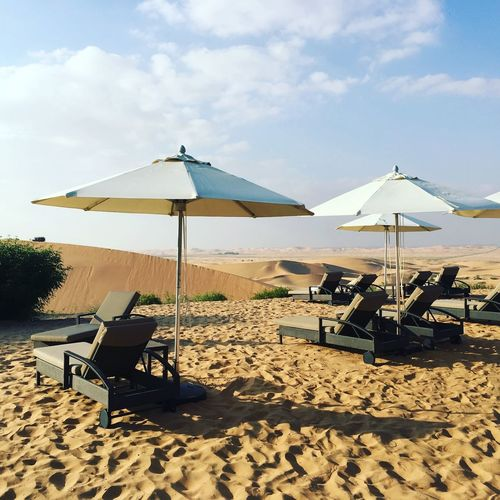Desert resort in Al Ain EyeEm Nature Lover EyeEm Best Shots Desert Resort Resort Desert Sand Sky Land Parasol Nature Scenics - Nature Tranquility Tranquil Scene Beauty In Nature