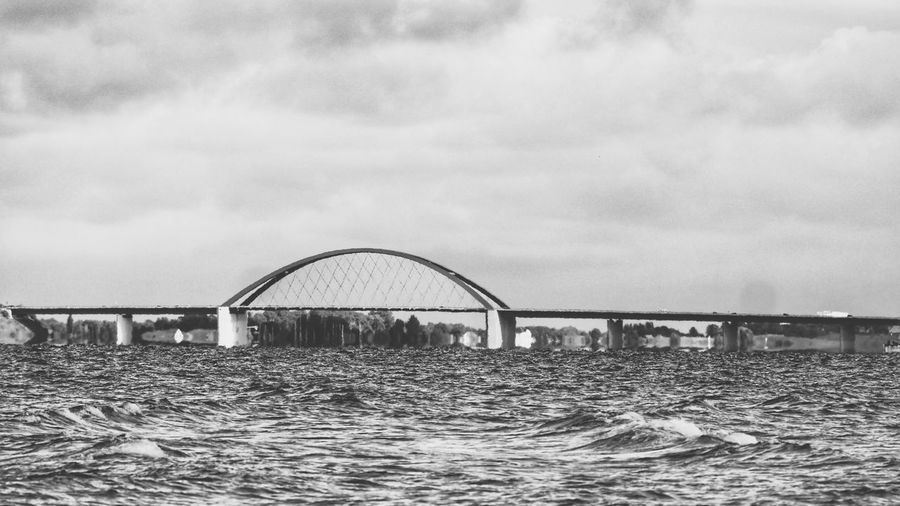 Fehmarnsundbrücke Outdoors Water Sky Bridge - Man Made Structure Black & White Taking Photos Exceptional Photographs Black And White Monochrome Photography Bnw Sea EyeEm Nature Lover Nature EyeEm Best Shots Check This Out Seascape