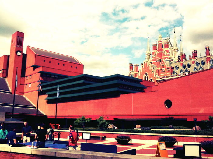 Free public ping pong, British Library (St. Pancras station), London, August 2010 Tags: architecture, sky, train station, urban, city, cross process develop