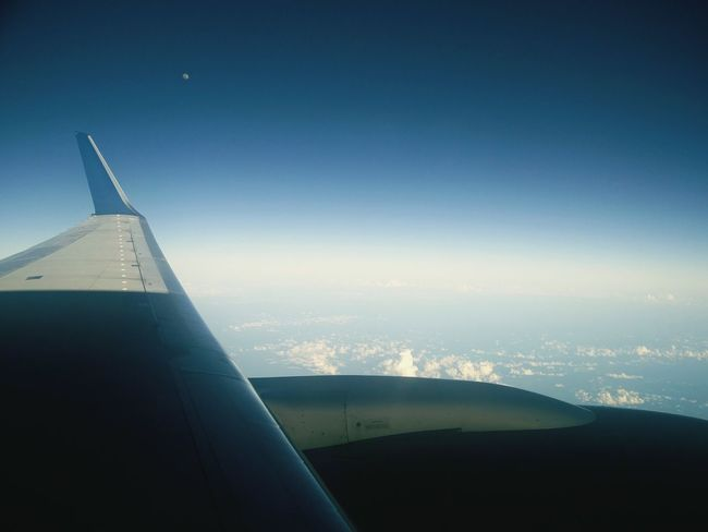 Airplane Night Blue Sky No People Outdoors Plane Window Plane Wing Moon