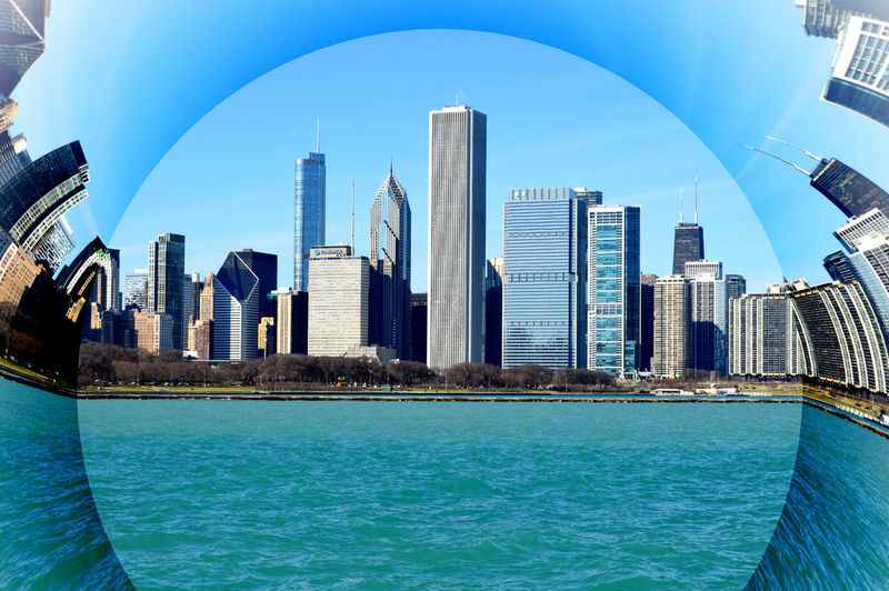 Architecture Blue Building Exterior Built Structure Chicago Chicago Illinois Chicago Skyline Chicago ♥ City Cityscape Cut And Paste Day Downtown District Modern No People Outdoors Sky Skyscraper Travel Destinations Urban Skyline Water Waterfront