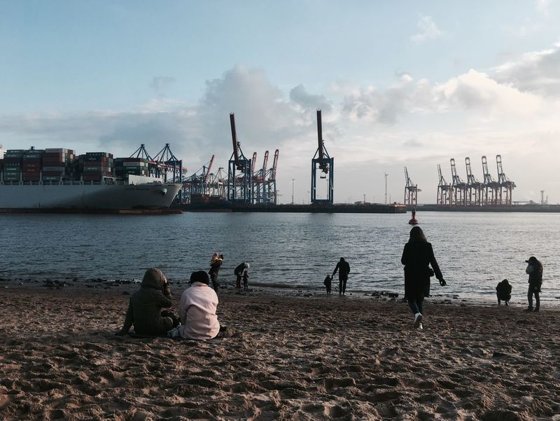 Barkasse Beach City Beach Clouds Container Port Container Ship Docks Dove Elbe Elbe Ferry Elbe River Elbstrand Hamburg Hamburger Hafen Harbor Harbor Sunset Harbor View Harbour Cranes Sand Schifffahrt Ship Ships Sunlight Sunset Water