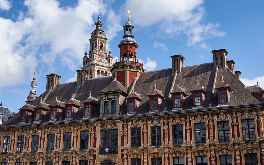 Vielle Bourse, Lille, France (September 2017) Europe Tiled Roof  Sculpture Tower Blue Sky Ornate Roof Landmark Ornate Historical Building Historic Lille France Architecture Cloud - Sky Sky Built Structure History Building Exterior Religion No People City Day Outdoors
