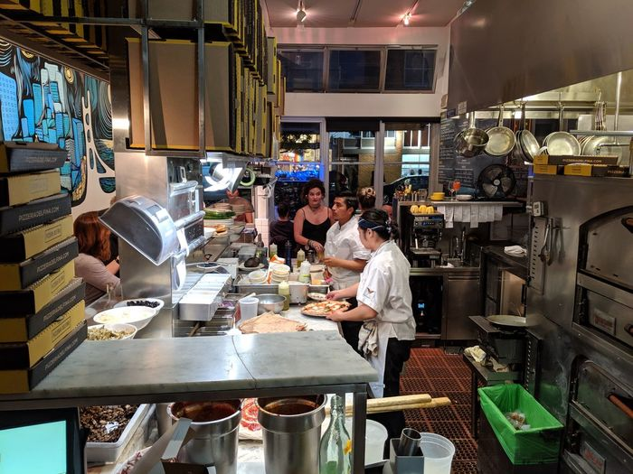 People working at restaurant