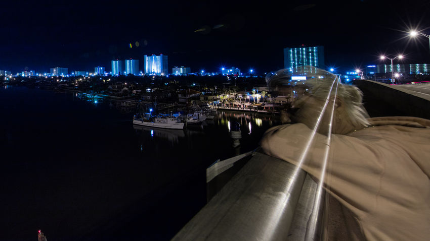 We are only here for a brief moment Architecture Bridge Built Structure City Cityscape Florida Illuminated Long Exposure Nautical Vessel Night Outdoors Real People Sky Transportation Water