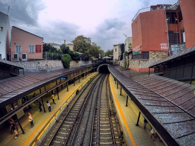 Rail Transportation Sky City Railroad Station Outdoors Gopro Photography EyeEmNewHere Athen Greece City Centre People Cloud - Sky Railroad Station Platform Public Transportation The Secret Spaces Art Is Everywhere The Street Photographer - 2017 EyeEm Awards