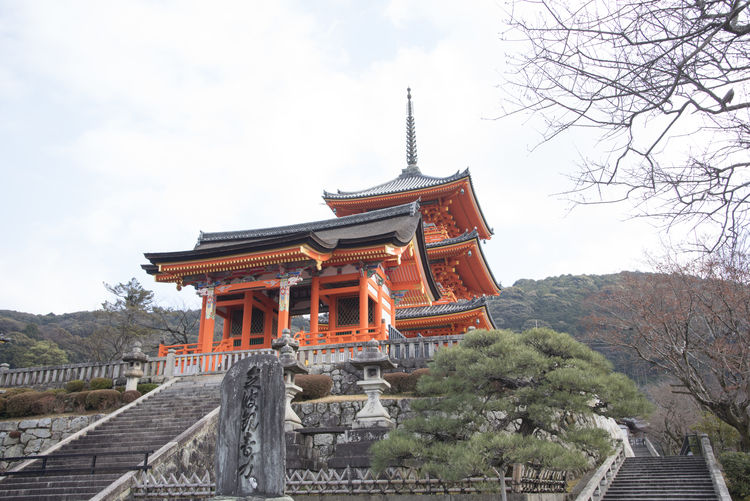 Koyasu pagoda of Kiyomizu dera in Kyoto in Abstract background Koyasu Pagoda Kiyomizu-dera Derawan Kyoto Abstract Backgrounds Ancient Architecture Japan Built Structure Building Exterior Belief Place Of Worship Religion Sky Building Nature No People Spirituality