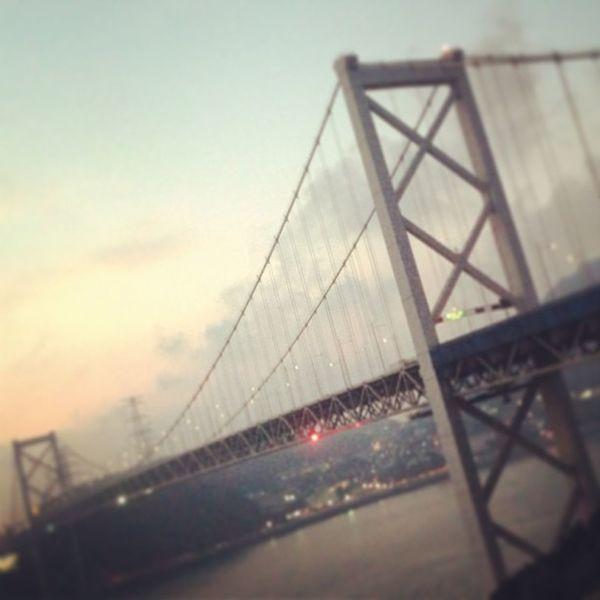 関門海峡 夕焼け 日没 橋 海