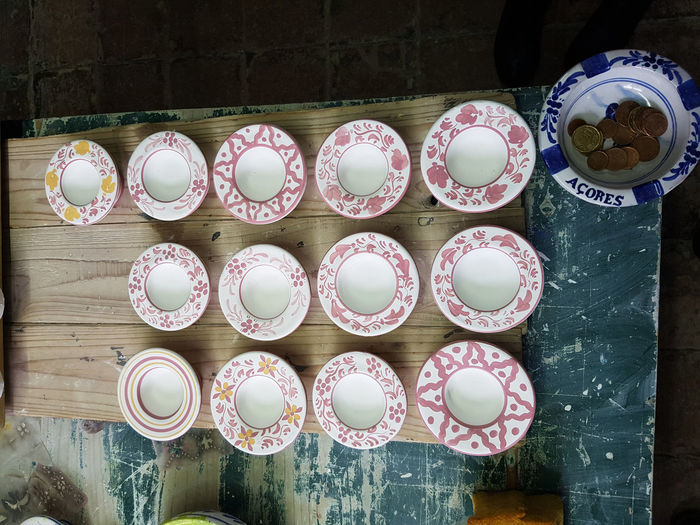Artisan HandPainted Motif  Portugal Art Artesanal Cultures Handpainting High Angle View No People Olaria Pottery