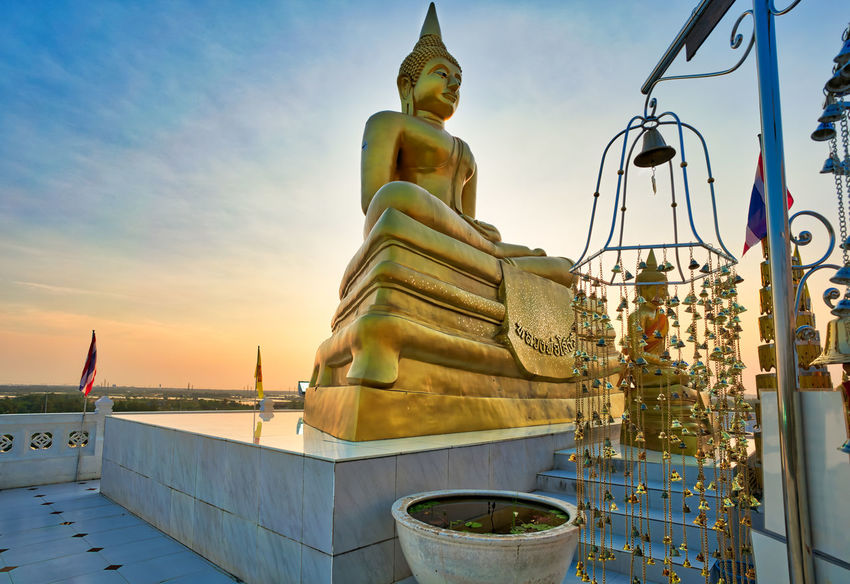 A Big Buddha statue captured during sunset. Location is Wat Khao Din, Bang Pakong, Chachoengsao, Thailand ASIA Architecture Buddha Statue Thailand Travel Photography Wanderlust Landscape Light And Shadow Outdoors Sky Sunset Temple Thailand_allshots Thainess Travel Destinations