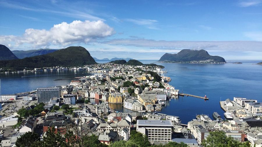 Norway Alesund North Sea Fjord Water Sea Sky Building Exterior Architecture Mountain High Angle View Nature City Cloud - Sky Built Structure Beauty In Nature