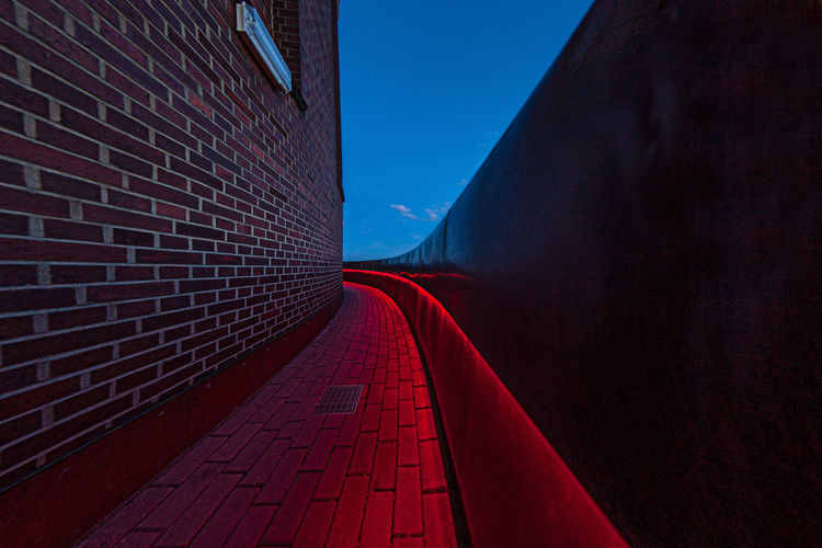 Architecture Blue Day Empty Hamburg Planetarium Long Narrow No People Outdoors Red Red The Way Forward