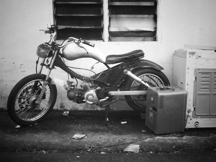 Motorcycle Transportation Street Outdoors Black And White Clasic Motorcycles