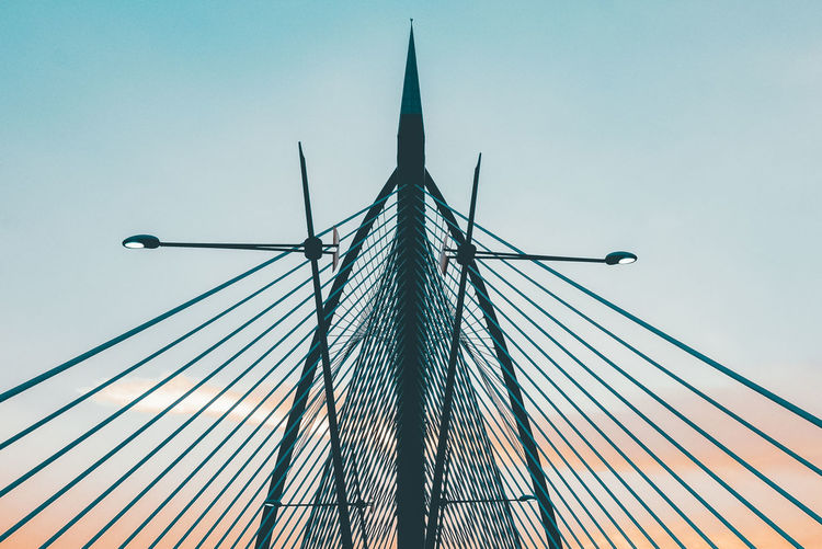 Sky Low Angle View Built Structure Architecture Nature No People Clear Sky Metal Outdoors Tall - High Connection Bridge Bridge - Man Made Structure Day Transportation Blue Cable-stayed Bridge Cable High Section