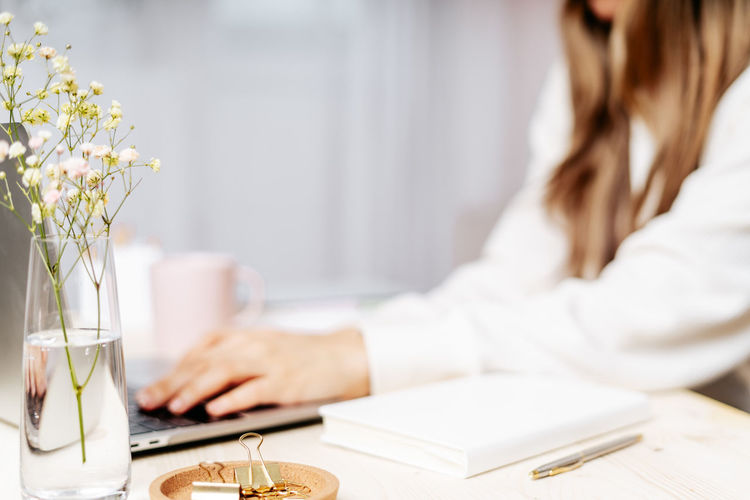 Distance learning online education and work. business woman working from home office using laptop