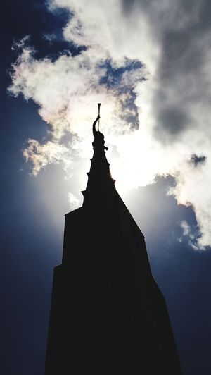Moroni Religion Spirituality Architecture Building Exterior Statue Built Structure No People Cross Place Of Worship Night Outdoors Sky Travel Destinations Skyscraper Lds Lds Temples Ldstemple Manila Philippines Temple Spire  Silhouette