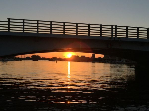 Architecture Beauty In Nature Bridge - Man Made Structure Built Structure Engineering Idyllic Lens Flare Nature No People Orange Color Outdoors Reflection Rippled Scenics Sky Sun Sunbeam Sunlight Sunset Tranquil Scene Tranquility Water