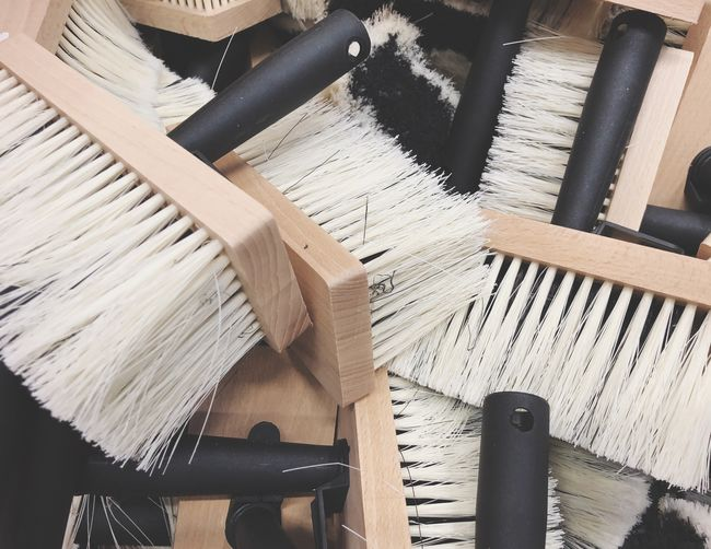 High Angle View Of Brushes