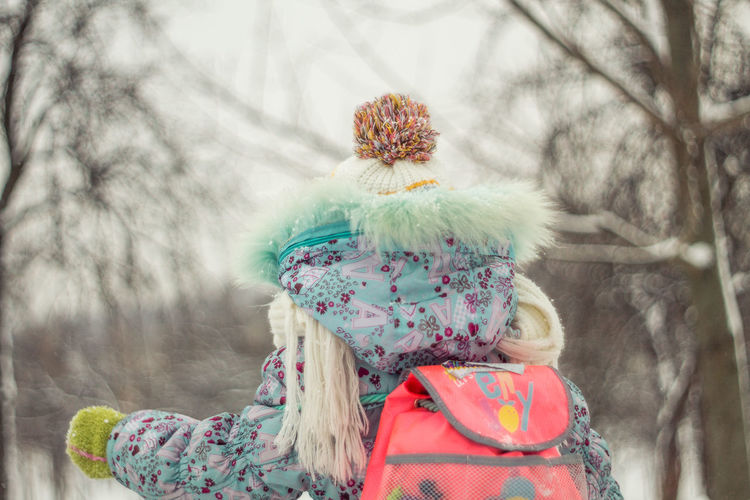 Tree Plant Clothing Nature Day Focus On Foreground Winter Rear View One Person Females Childhood Cold Temperature Warm Clothing Child Girls Headshot Portrait Outdoors