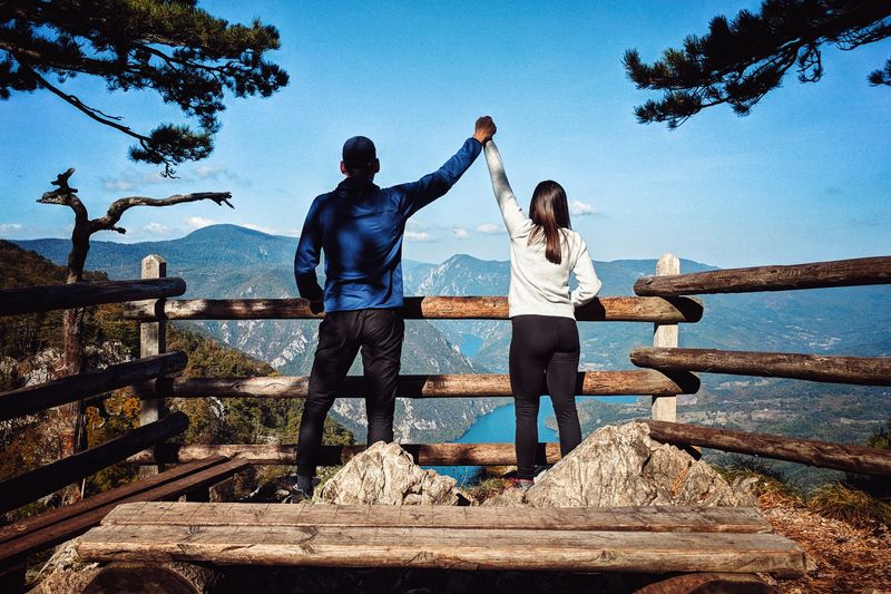 Couple on the top of Tara mountains. Serbia Backpack From Behind Tara Young Adult Resting EyeEm Selects Back Woman Guy Lake View Viewpoint Water Young Women Togetherness Men Friendship Full Length Women Sea Nautical Vessel Bonding Hiker Arms Raised Arms Outstretched Hiking Human Back