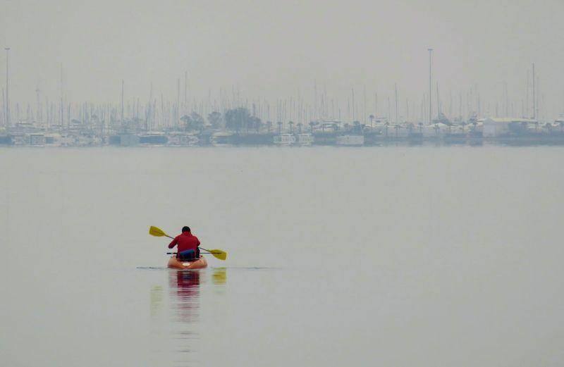 Water Men Working Sitting Oar Kayak Nautical Vessel Full Length Occupation Togetherness