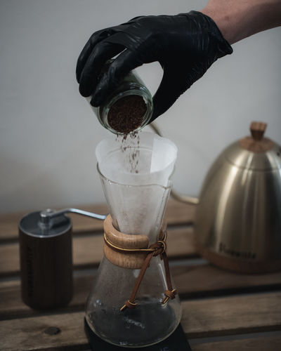 Coffee Brewing and Coffee Making Ijas Muhammed Photography Human Hand One Person Hand Indoors  Pouring Drink Preparation  Human Body Part Coffee Food And Drink Refreshment Coffee - Drink Holding Real People Table Container Appliance Lifestyles Coffee Pot Finger