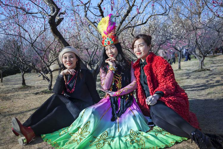 beautys and plum blosson Plum Blossom Beauty In Nature Plum Blossom Views Plum Blossom Trees Beautys Springtime Springtime Flowers Springtime Blossoms Beautiful Woman Beautiful Costume Spring Lifestyles Leisure Life