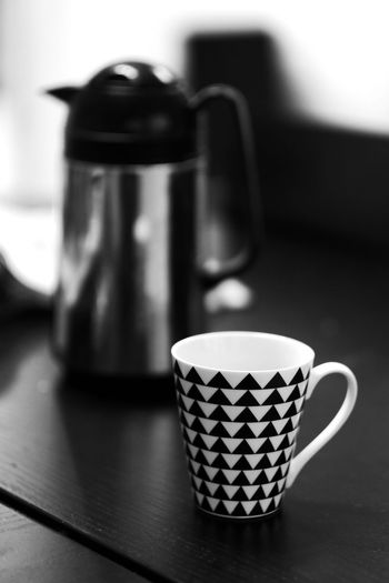 Coffee? Food And Drink Cup Mug No People Coffee Cup Table Ilford Ilford Simulation Fujifilm X-H1 Kaffe Thermos Taking Photos Enjoying Life Fika Analogue Grain Blackandwhite Svartvitt Kungshamn Sweden Sverige Coffee Indoors  Close-up EyeEm Best Shots