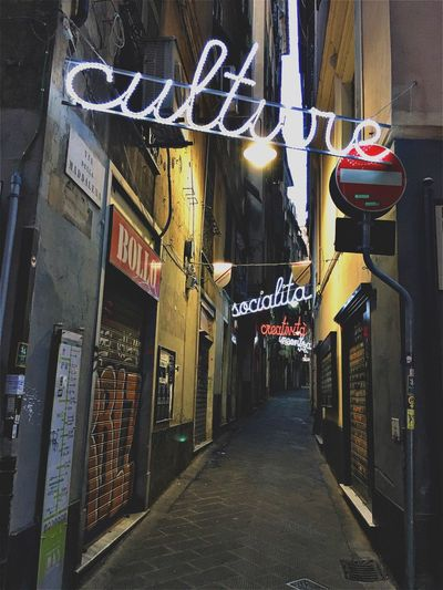 Genova. Architecture Communication Built Structure Building Exterior The Way Forward Night Store Illuminated Outdoors No People City Neon EyeEmNewHere Popckorn