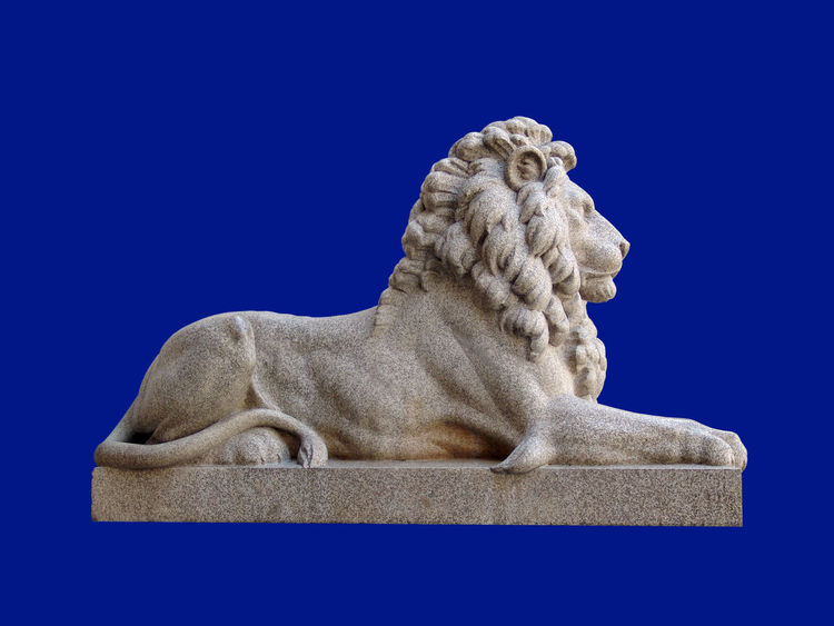 Blue Background Colored Background Granit Lion Loewe No People Sculpture Skulptur