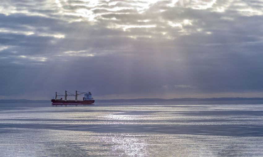 ocean background with a big tanker Sea Nautical Vessel Water Cloud - Sky Sky Mode Of Transportation Transportation Scenics - Nature Horizon Over Water Beauty In Nature Nature Horizon Ship Tranquility No People Tranquil Scene Sailing Waterfront Travel Outdoors Sailboat Passenger Craft Ocean Blue Landscape