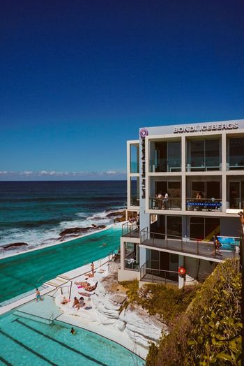Bondi Beach Sea Horizon Over Water Water Blue Sky Clear Sky Built Structure Beach No People Architecture Nature Outdoors Day Beauty In Nature Lifeguard Hut Bondi Beach Bondi Beach, Sidney, Australia