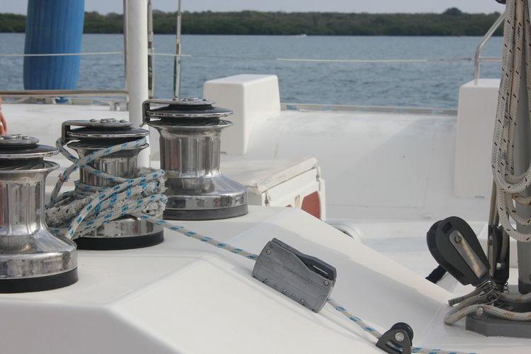Close-up of sailboat winch