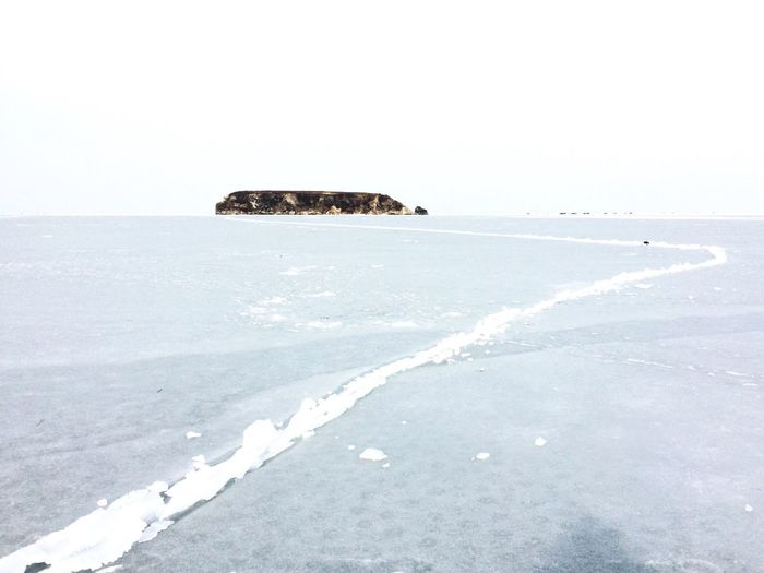 The way to explore Sea Clear Sky Nature Tranquility Scenics Tranquil Scene Beauty In Nature Cold Temperature Winter Day Outdoors Snow Horizon Over Water No People Sky Water Frozen